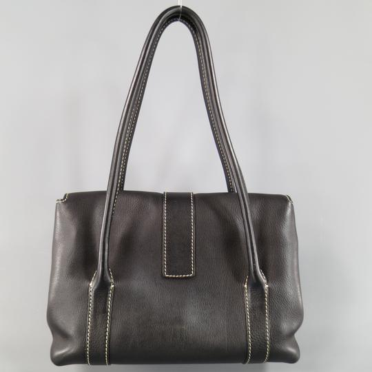 Loro Piana Leather Contrast Stitch Textured Tab Closure Italian Shoulder Bag