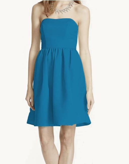 Item - Blue Polyester New Short Strapless Faille F15810 Pacific Modern Bridesmaid/Mob Dress Size 10 (M)
