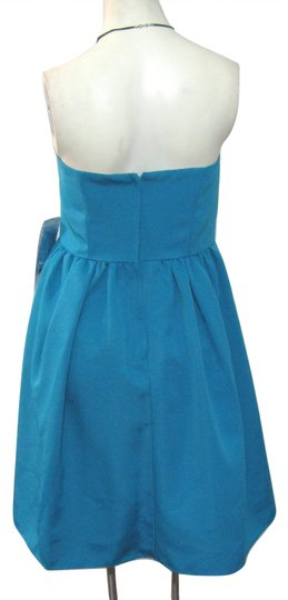 David's Bridal Blue Polyester New Short Strapless Faille F15810 Pacific Modern Bridesmaid/Mob Dress Size 10 (M)