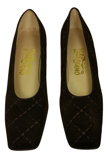 Salvatore Ferragamo Suede Embroidered Ships In 24 Hours Brown Pumps