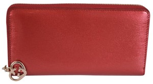Gucci Red GG Charm Shine Lovely Zip Around Wallet