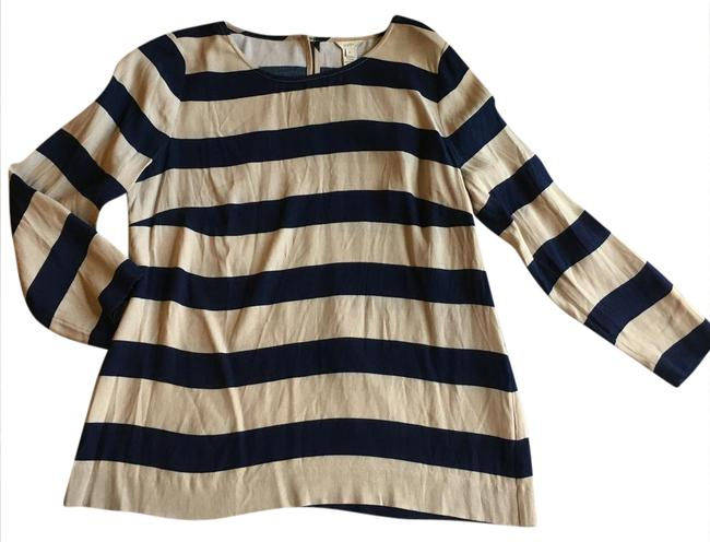 Preload https://item2.tradesy.com/images/jcrew-tan-classic-striped-nautical-blouse-shirt-button-down-top-size-4-s-20822456-0-2.jpg?width=400&height=650