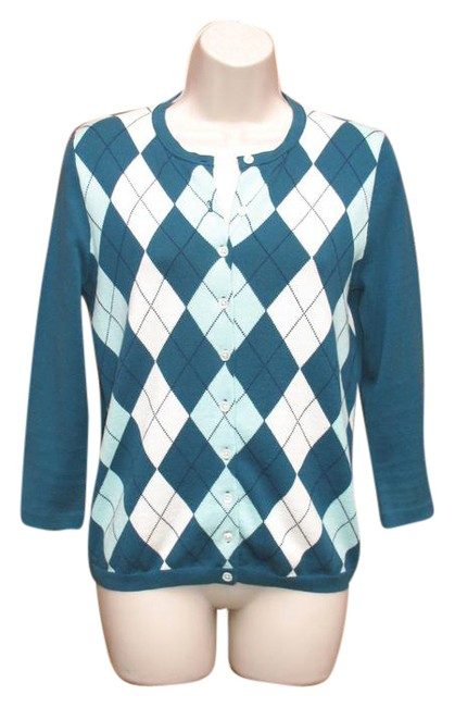 Preload https://img-static.tradesy.com/item/20822457/jcrew-tealmint-cotton-argyle-sweater-cardigan-size-6-s-0-1-650-650.jpg