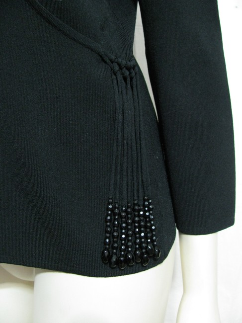 Coldwater Creek Beads Beaded Faux M 8 10 Shirt Nylon 3/4 Sleeves Tassel New Tunic Sweater