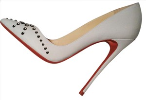 Christian Louboutin Door Knock Studded White Pumps