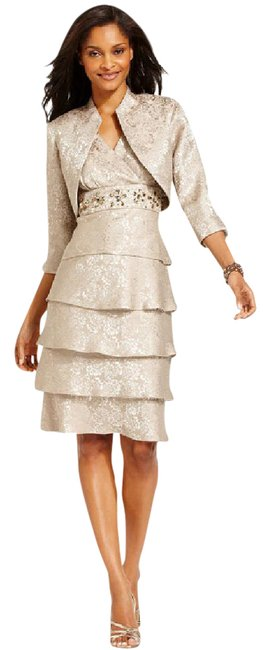 Preload https://item5.tradesy.com/images/r-and-m-richards-taupe-jacquard-tiered-embellished-and-jacket-short-cocktail-dress-size-8-m-20822634-0-1.jpg?width=400&height=650