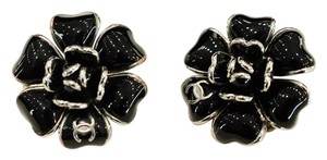 Chanel Camellia enamel earrings