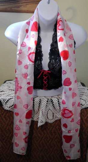 Other Red & White Scarf With Hearts