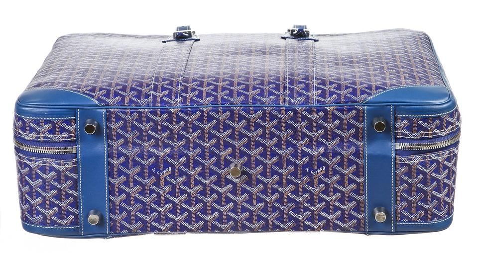 Goyard Blue Chevron Majordome Luggage Multi Color Canvas Weekend