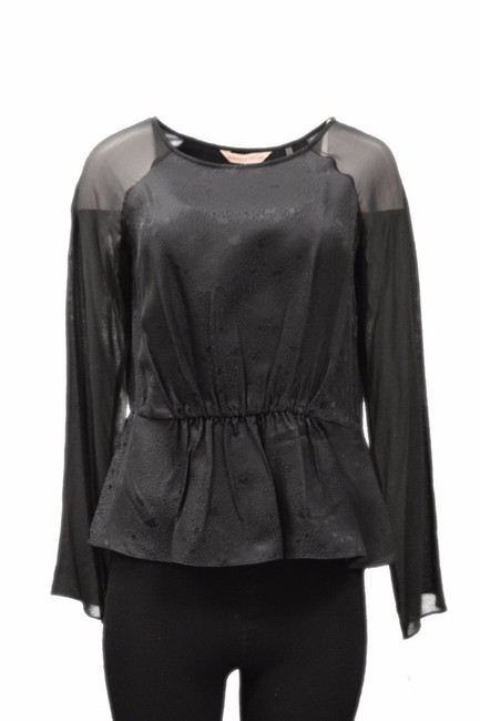 Rebecca Taylor Round Neck Raglan Sleeves Cinched Waist Stretch Waist Top Black