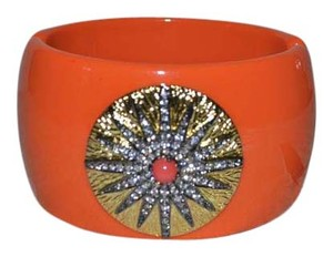 Kenneth Jay Lane Kenneth Jay Lane KJL Sunburst Orange Enamel Bangle Bracelet