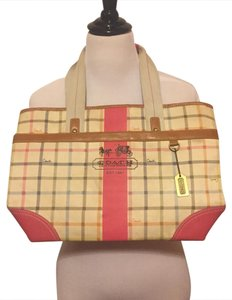 Coach Satchel in Cream w/ Plaid Striped Pattern and Pink Leather
