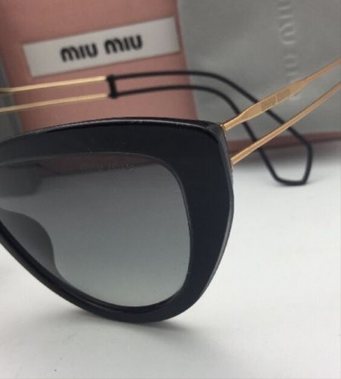 Miu Miu New MIU MIU Sunglasses SMU 12R U6F-3M1 55-17 Black & Gold Frame w/Grey