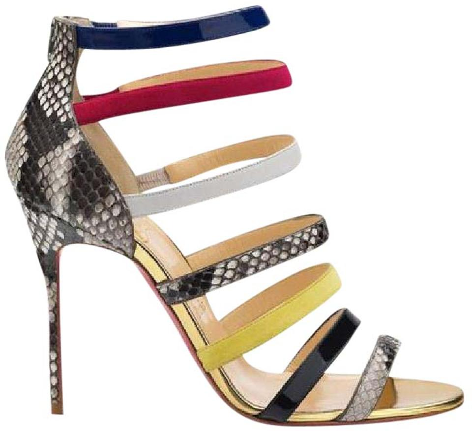 separation shoes f40fb 14afd Christian Louboutin Multicolor Mariniere Python Leather Strappy Sandals  Heels Pumps Platforms Size US 10.5 37% off retail