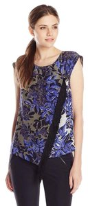 Rebecca Taylor Scoop Neck Button & Loop Back Cap Sleeves Diagonal Fringe Floral/leaf Print Top Blue