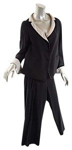 Annette Görtz ANNETTE GORTZ Black 100% Virgin Wool Pantsuit w/Crop Pant+Rev. Jacket