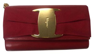 Salvatore Ferragamo Gold Hardware Chain Vintage Red or Dark Navy Blue Clutch