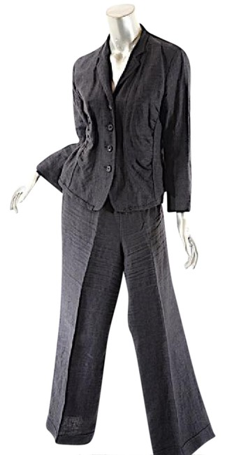 Preload https://item2.tradesy.com/images/lida-baday-gray-graphite-linen-wcrop-jacketclean-front-pan-pant-suit-size-10-m-20823021-0-2.jpg?width=400&height=650