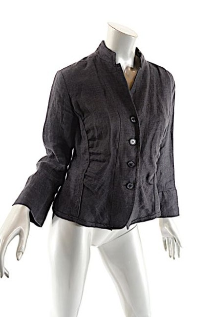 Lida Baday LIDA BADAY Graphite 100% LINEN Pantsuit w/Crop Jacket+Clean Front Pan