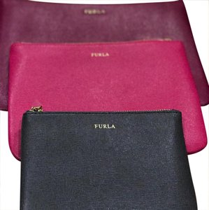 Furla Wristlet in Fuscia/Hot Pink/Charcoal Grey
