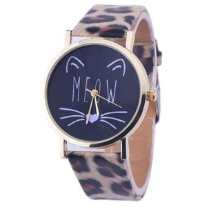 Other 2 for 1 Choice Ladies Cheetah Band MEOW Cat Watch Free Shipping