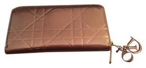 Dior Dior Patent Leather Lady Dior Charm Long Wallet - Bronze