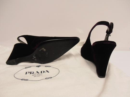 Prada Made In Italy Velvet Pointy Toe Slingback dark purple Pumps