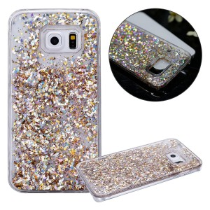 IKASEFU 3D Clear Flowing Glitter Liquid Plastic Transparent Case Cover