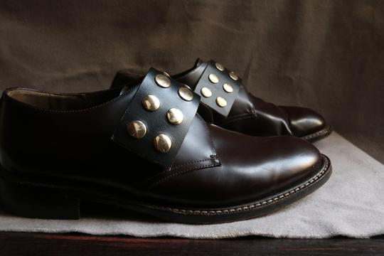 Marni Studded Gold Leather Dark Brown Flats