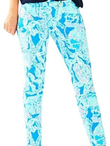 Lilly Pulitzer Lilly Ankle Skinny Pants Bay Blue Into The Deep