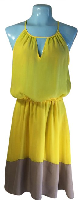 Preload https://item1.tradesy.com/images/bar-iii-yellow-and-gray-mid-length-short-casual-dress-size-12-l-20823280-0-1.jpg?width=400&height=650