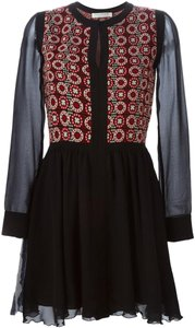 Philosophy di Lorenzo Serafini short dress Red, White and Black Sheer Embellished Silk Swing Knit on Tradesy
