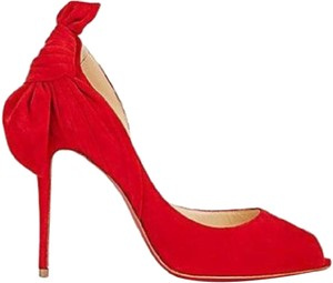 Christian Louboutin Barbara Heels Bow Stiletto Red Pumps