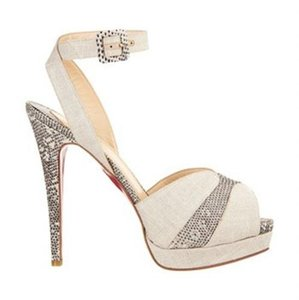 Christian Louboutin Double Moc Lizard Ankle Strap Peep Toe Natural Beige Platforms