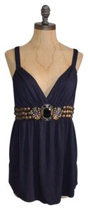 Jaloux Embellished Art Deco Navy Top BLUE