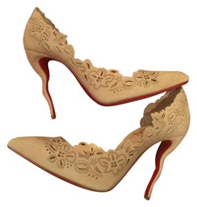 Christian Louboutin Heels Stiletto Laser Cut Wavy Beloved Nude Pumps