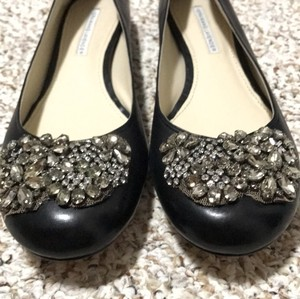 Vera Wang Lavender Label Embellished Crystal Black Flats