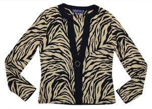 Jones New York Party Classic Animal Print Top gold