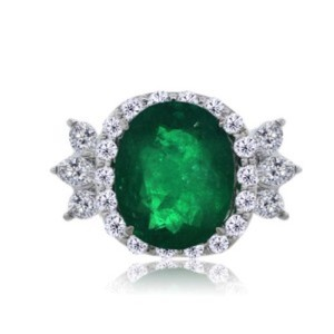Other Platinum Colombian Emerald And Diamond Cocktail Ring