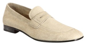 Prada Stone Suede Dress Loafers Mens Cream Flats