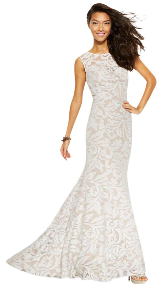 Adrianna Papell White Nude Sleeveless Lace Mermaid Long Formal Dress ...