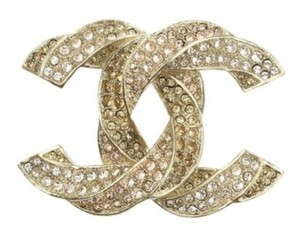 Chanel Gold New Classic Large Twisted Crystal Cc Brooch/Pin