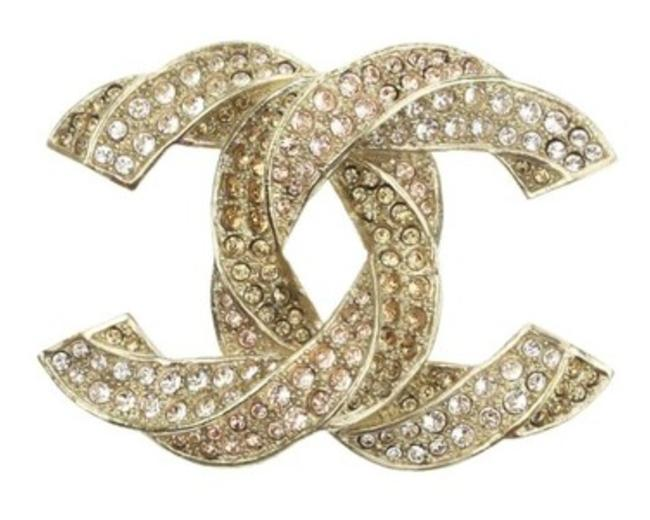 Item - Gold New Classic Large Twisted Crystal Cc Brooch/Pin
