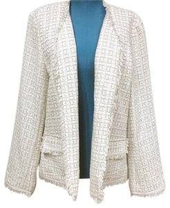 Chico's White, Tan, Gray, Silver Blazer