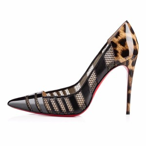 Christian Louboutin Bandy Mesh Leopard Patent Leather Black/Leopard Pumps