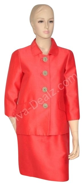 Oscar de la Renta Coral Silk Skirt Suit Dress