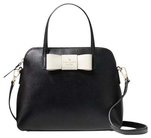 Kate Spade Colorblock Two-tone Strap Bow Tie And White Satchel in Black