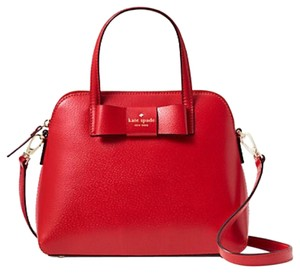 Kate Spade Colorblock Two-tone Strap Bow Tie Structured Satchel in Red