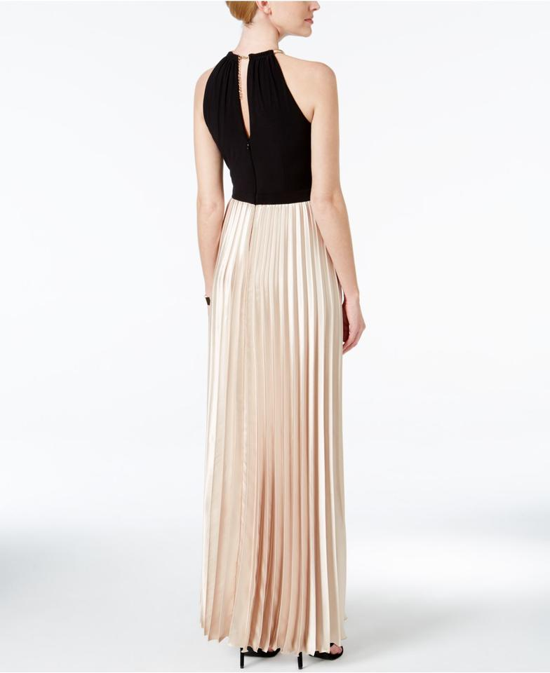 Xscape Black/Taupe New Black/Taupe Colorblocked Pleated Halter Long ...