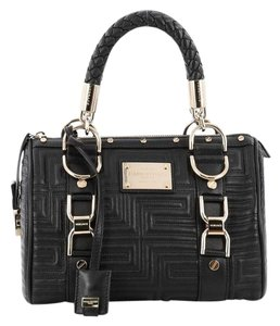 Versace Leather Nail Head Studs Gianni Couture Satchel in Black